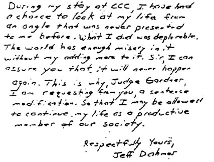 Most Schizoid characteristics appear in Dohmer's handwriting.